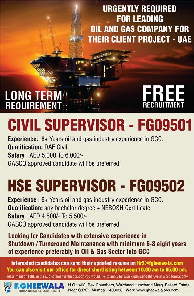CIVIL SUPERVISOR & HSE SUPERVISOR - FREE RECRUITMENT FOR