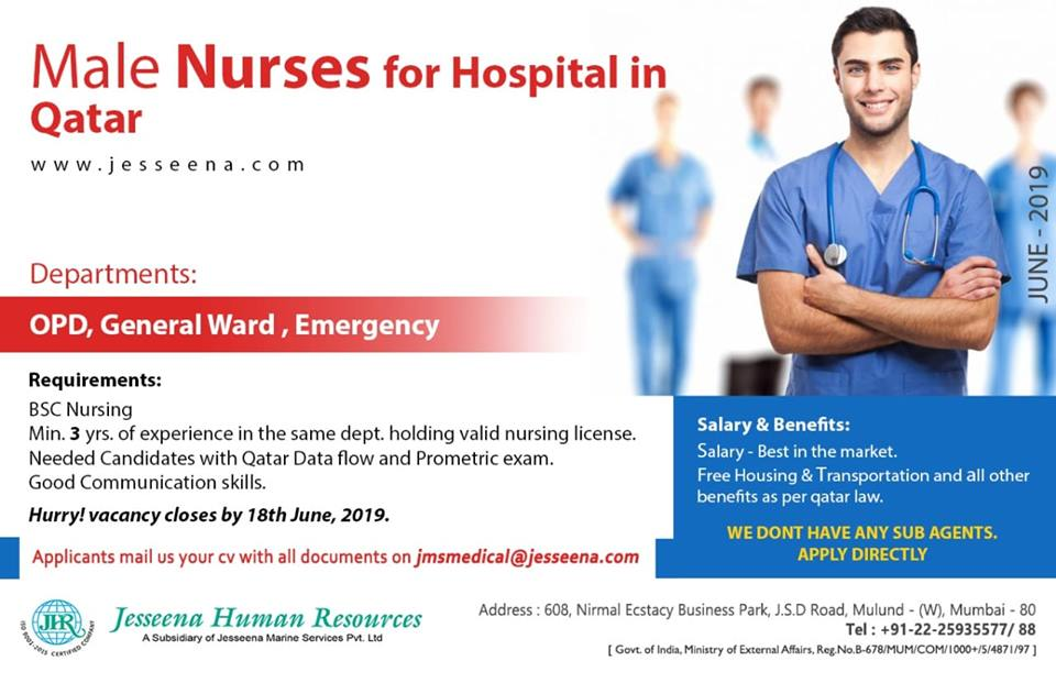 Vacancies for Male Nurses for a Hospital in Qatar