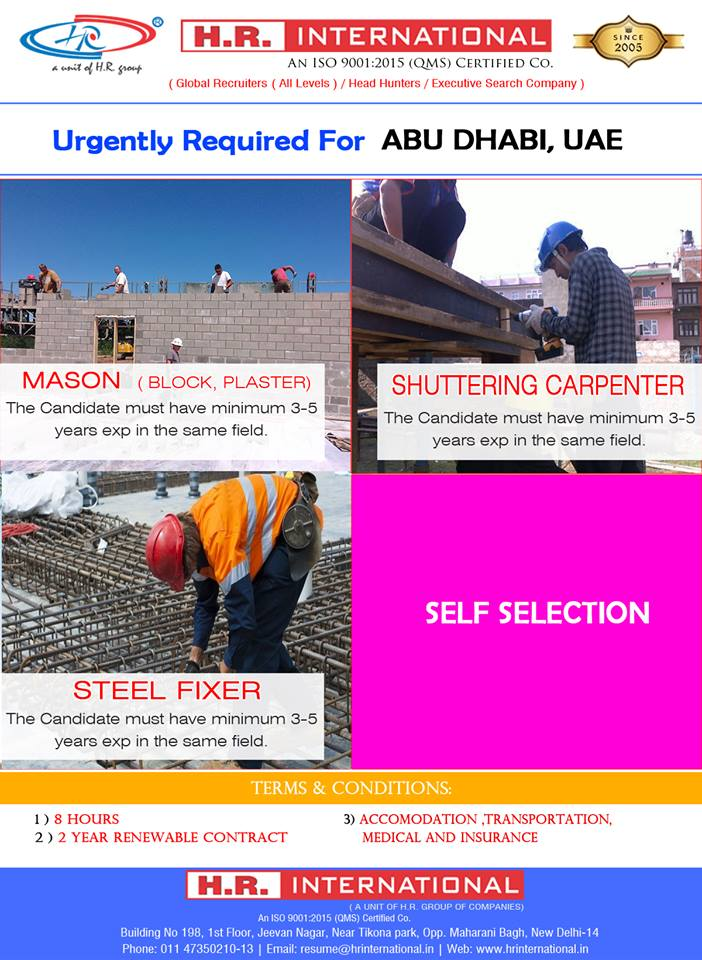 Mason (Block/Plaster) / Shuttering Carpenter / Steel Fixer