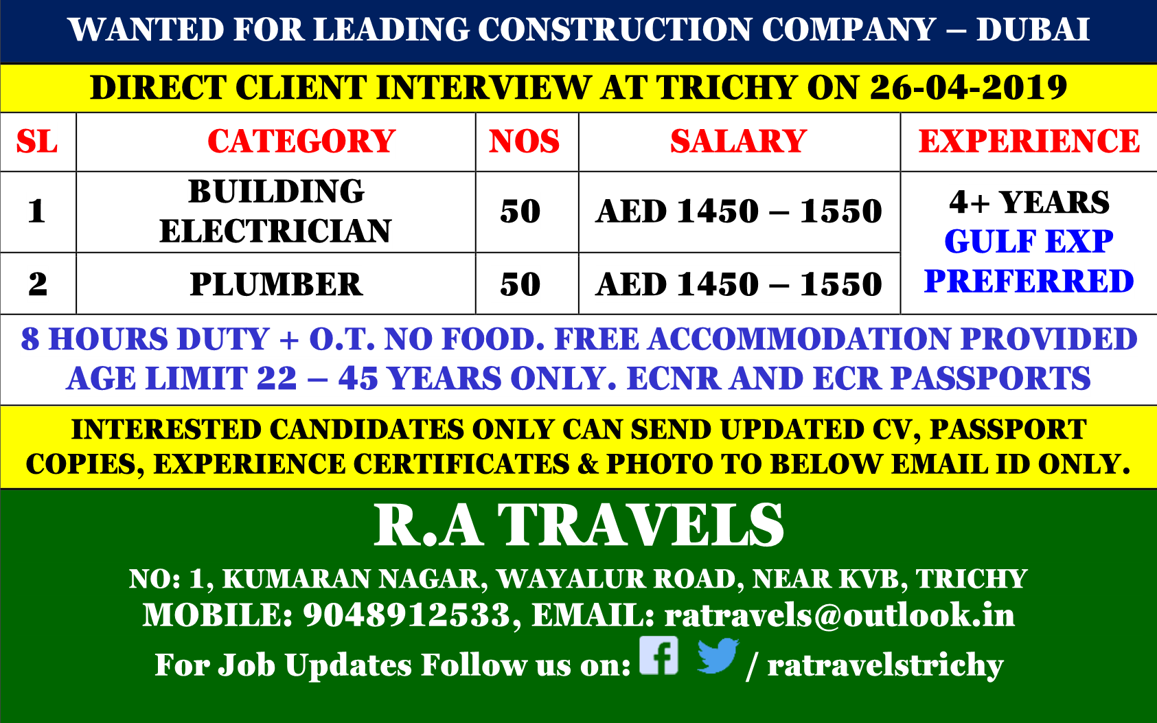 Wanted for Leading Construction Company in Dubai