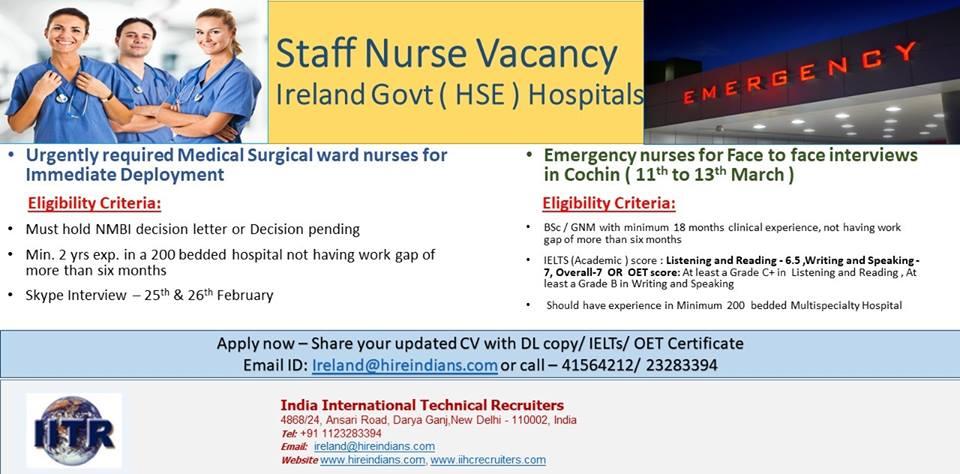 Staff Nurse Recruitment for Ireland Govt  Hospital( HSE )