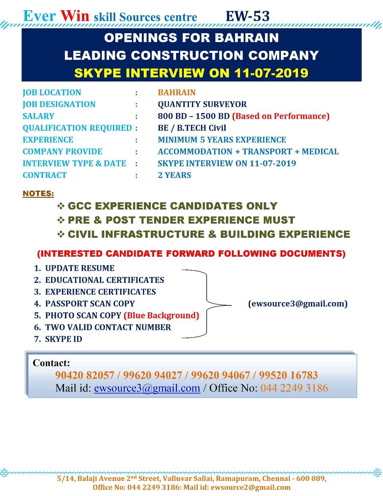 Bahrain Construction Companies Jobs