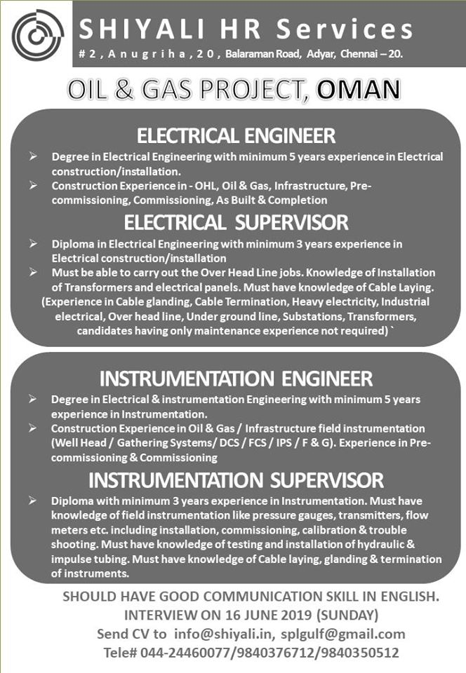 Job Opening For Oman Electrical Instrumentation