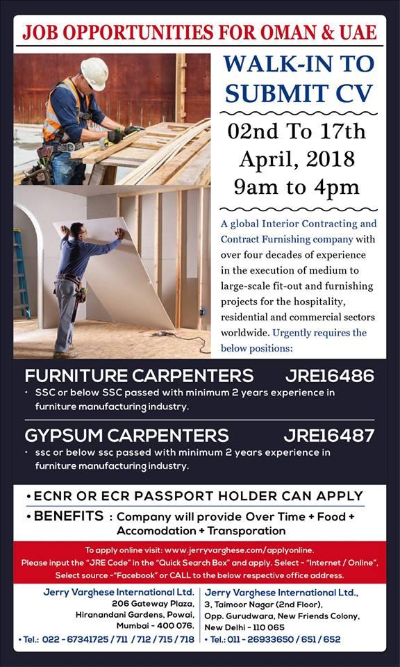 FURNITURE CARPENTERS & GYPSUM CARPENTERS OMAN & UAE