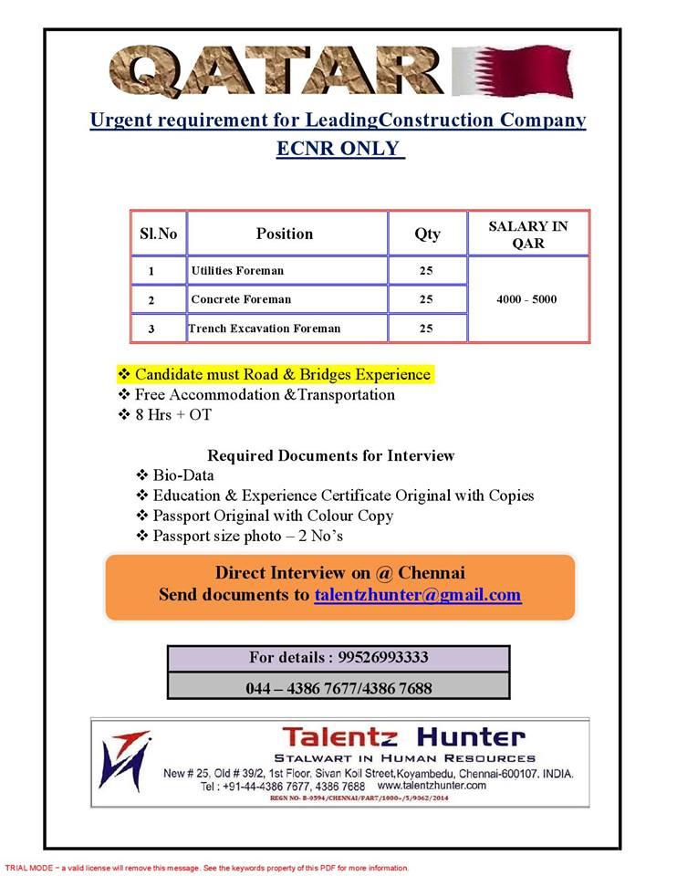 Foremen for Leading Construction Company-Qatar