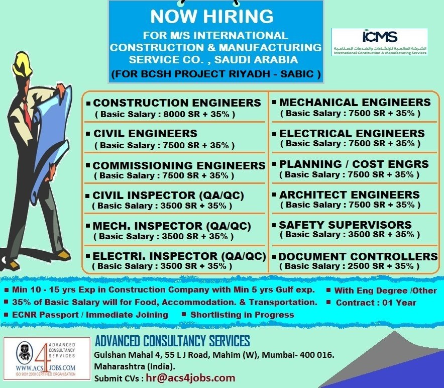 URGENTLY REQUIRED FOR M/S INTERNATIONAL CONSTRUCTION