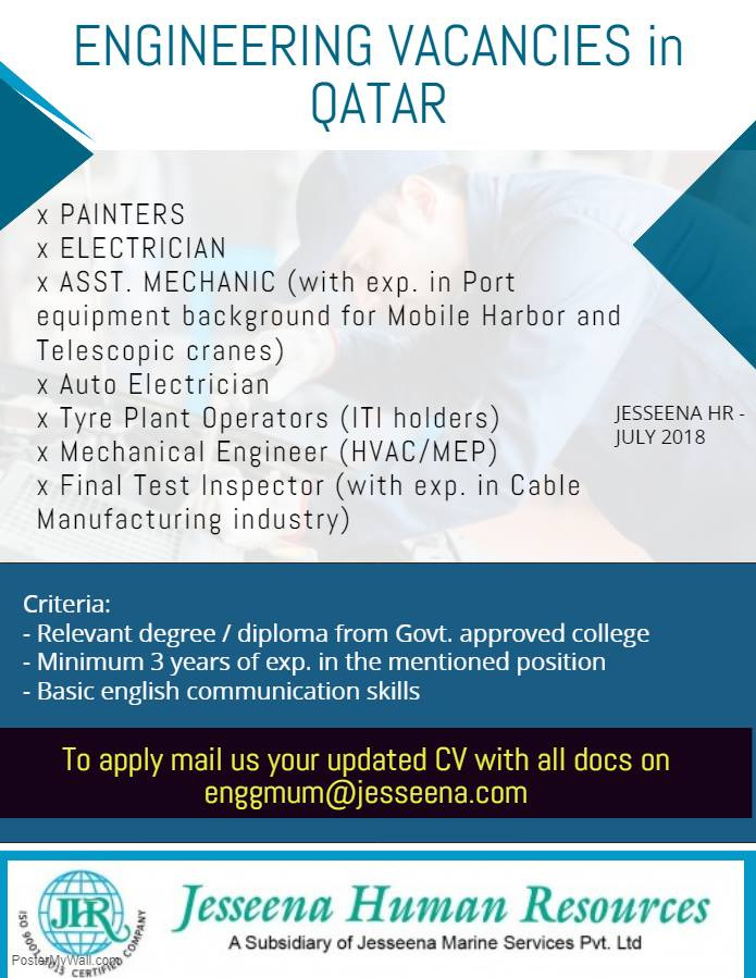 Engineering Vacancy for Reputed Companies in Qatar
