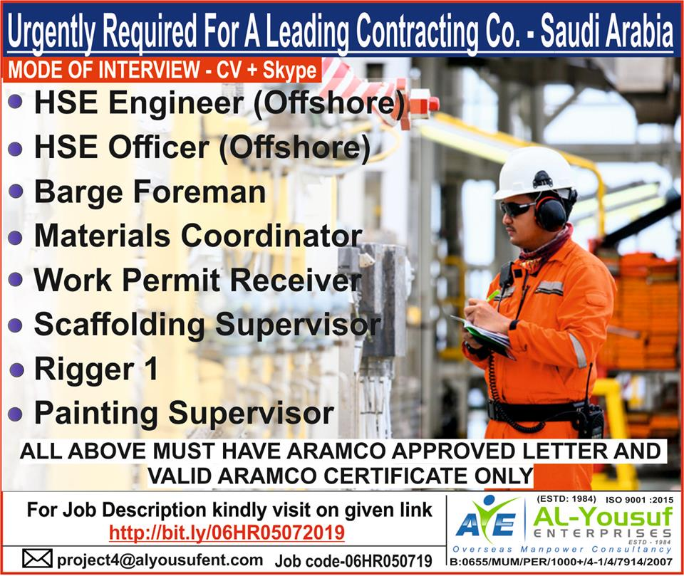 Urgently Required for a leading Contracting Co,Saudi Arabia