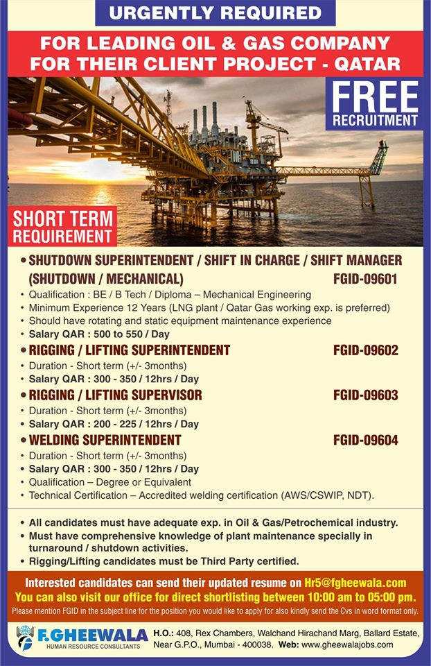 FREE RECRUITMENT FOR LEADING OIL & GAS COMPANY FOR THEIR