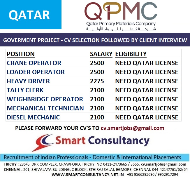 HIRING FOR - QATAR - GOVERNMENT PROJECT