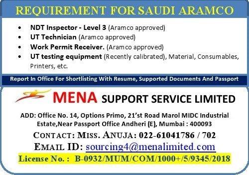 REQUIREMENT FOR SAUDI ARAMCO