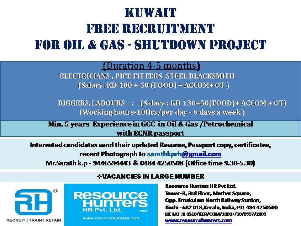 FREE RECRUITMENT FOR OIL & GAS - SHUTDOWN PROJECT IN KUWAIT