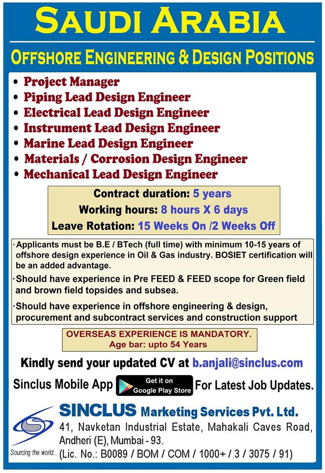 Wanted For Saudi Arabia - Offshore Engineering & Design