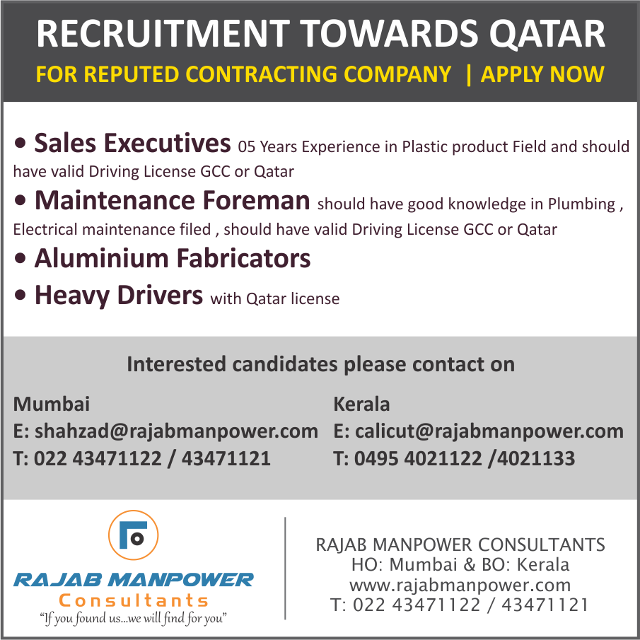 RECRUITMENT TOWARDS QATAR FOR REPUTED CONTRACTING COMPANY QATAR