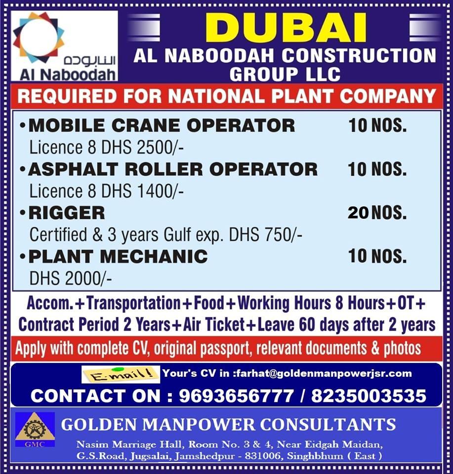 Hiring for Dubai - Al Naboodah Construction Group LLC (for