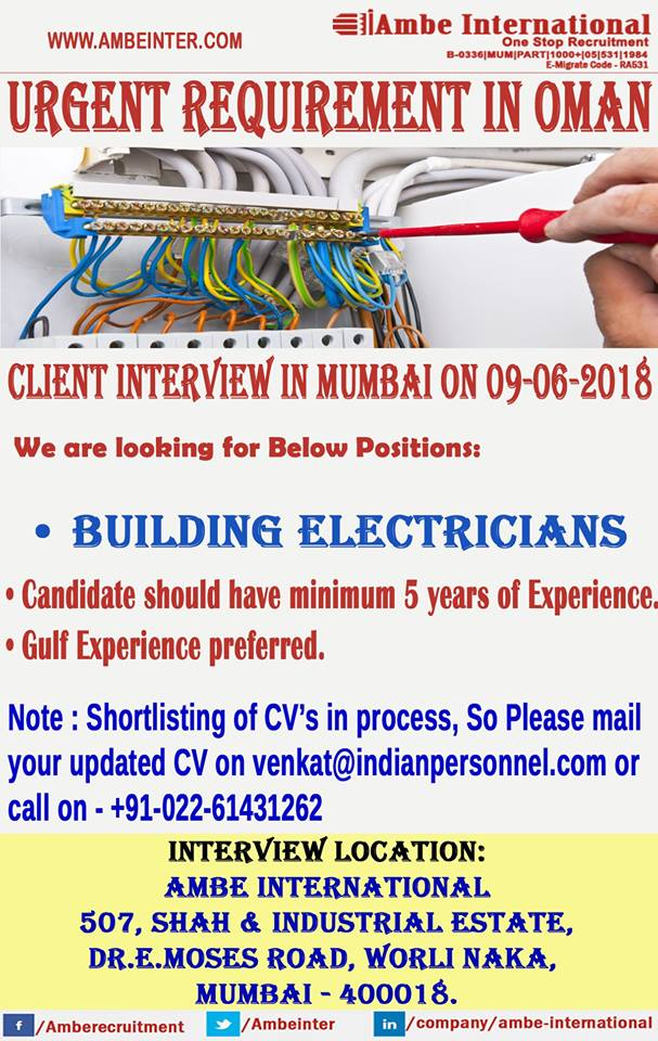 Building Electricians for Oman