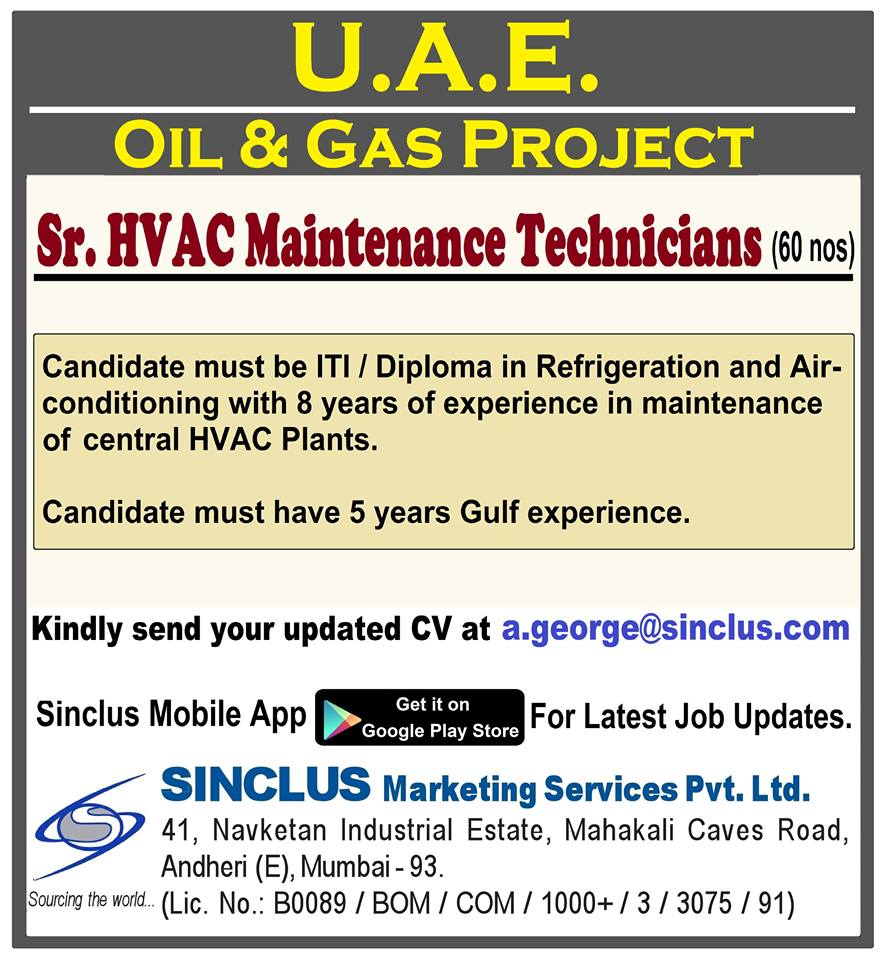 Sr  HVAC Maintenance Technicians For U A E  OIL & GAS PROJECT