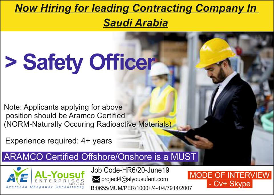 Safety Officer For Leading Contracting Company - Saudi Arabia