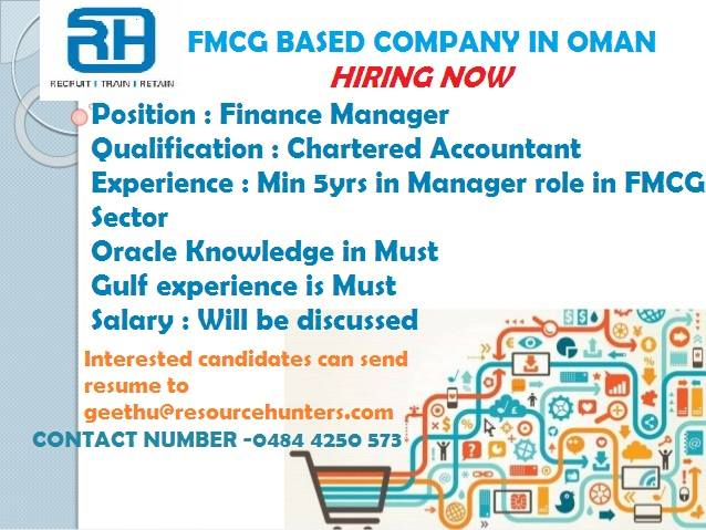 Finance Manager FMCG BASED COMPANY IN OMAN