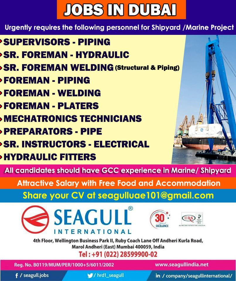 Urgently requires the following personnel for Shipyard