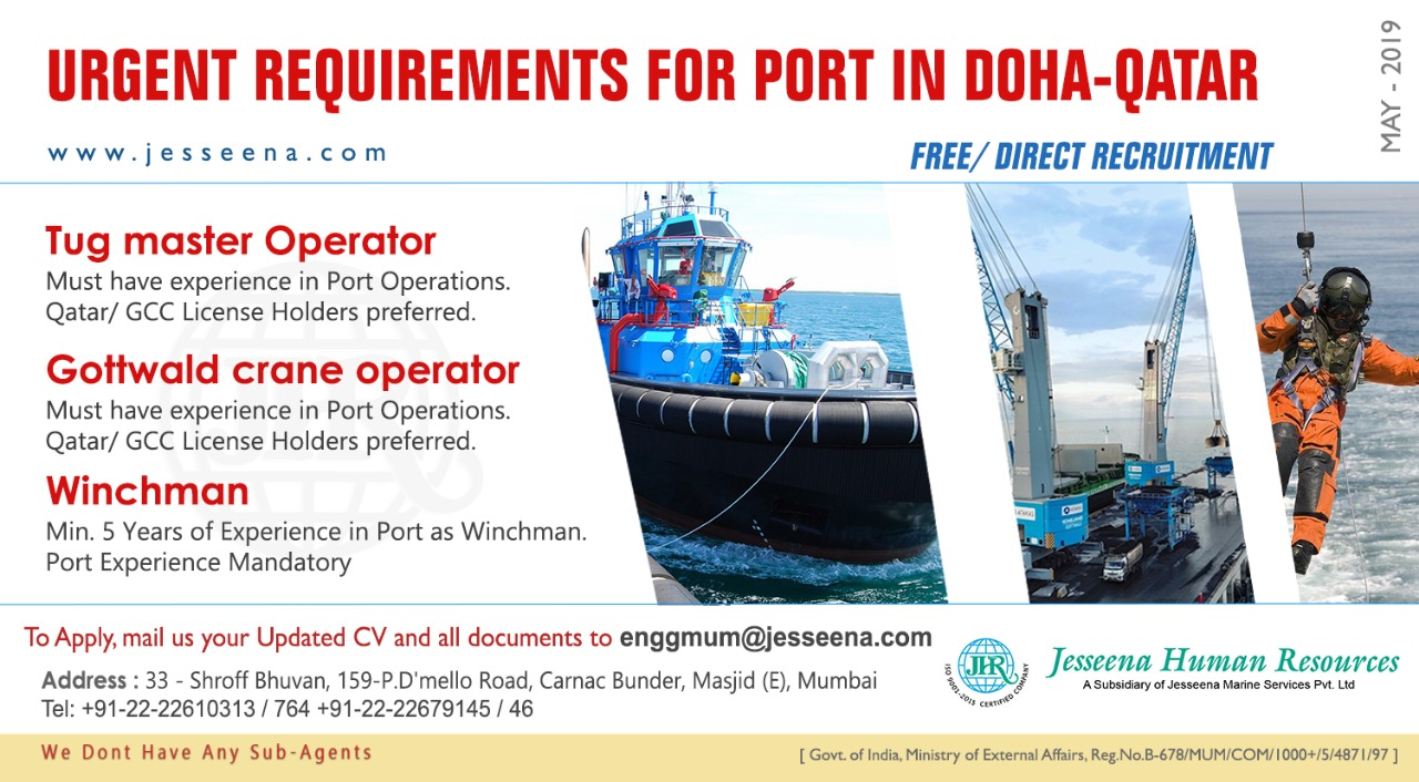 FREE/ DIRECT RECRUITMENT FOR PORT IN DOHA-QATAR