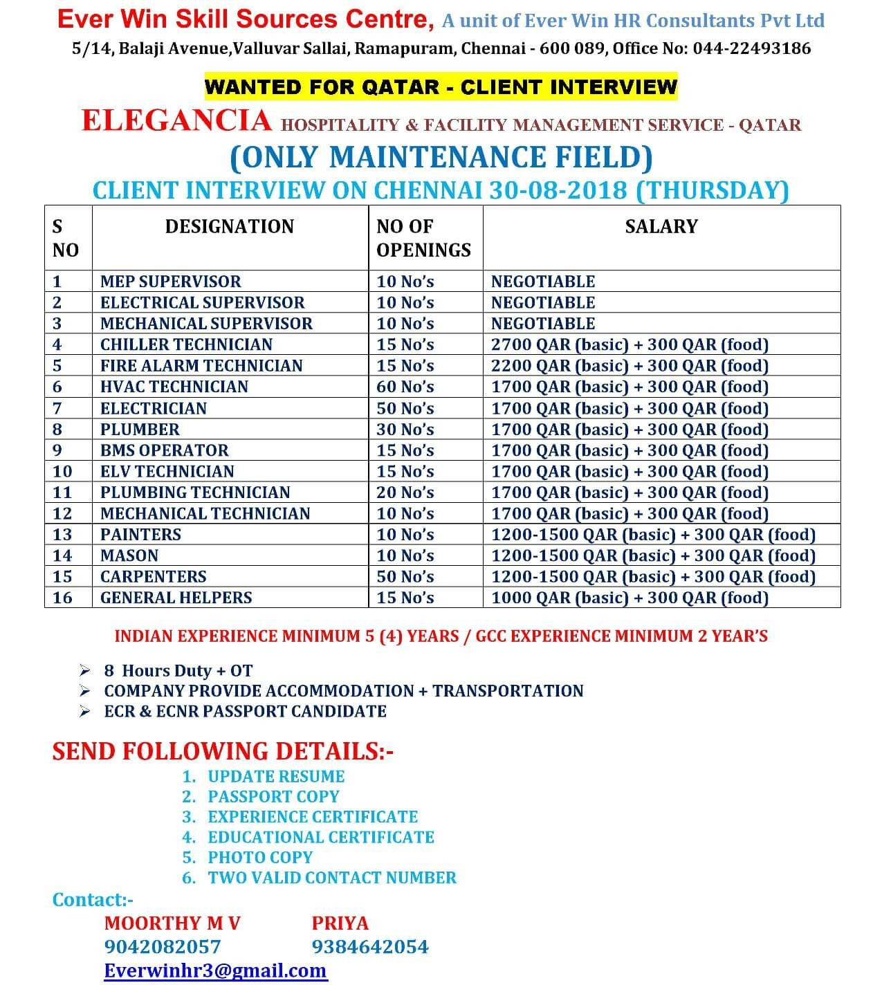 WANTED FOR QATAR - ELEGANCIA Hospitality & Facility Management Services