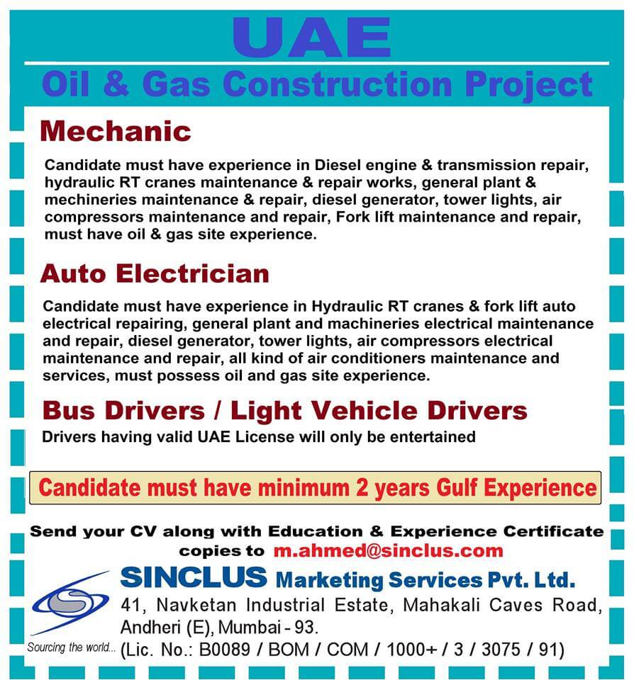 Vacancies for Oil & Gas Construction Project in UAE