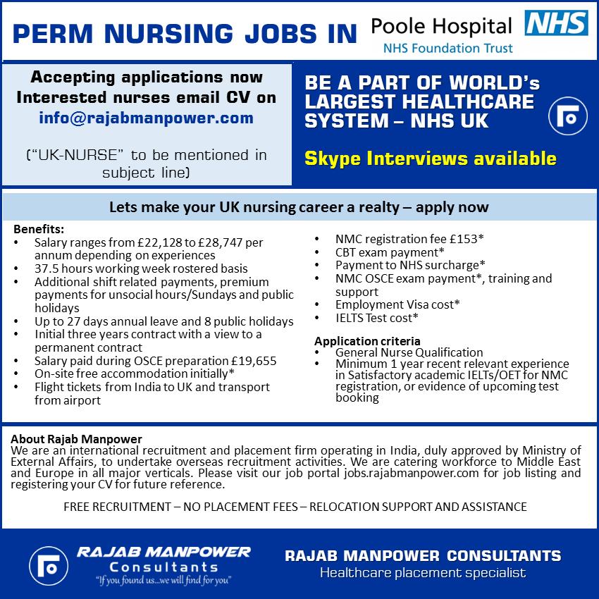Free Recruitment Perm Nursing Jobs In Poole Hospital - NHS