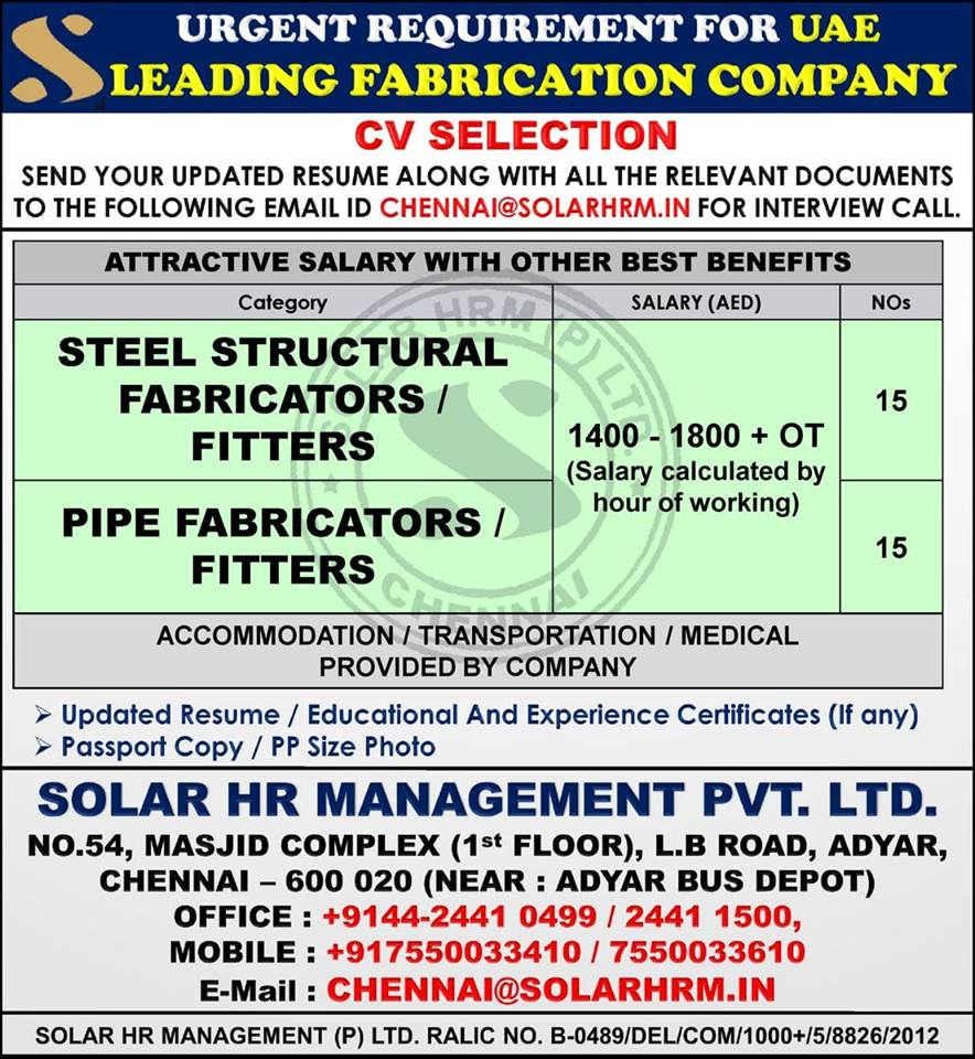 Urgent Requirement For Leading Fabrication Company in UAE