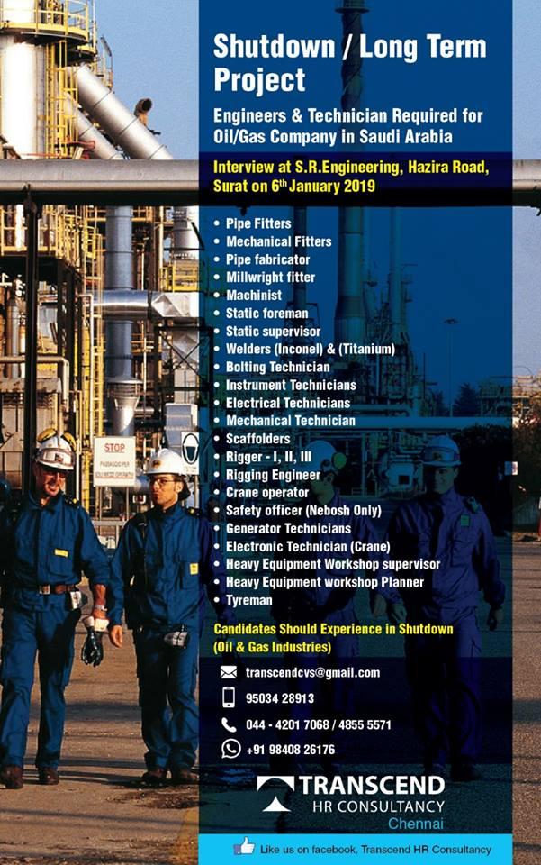 Technicians Required for Oil/Gas Company in Saudi Arabia