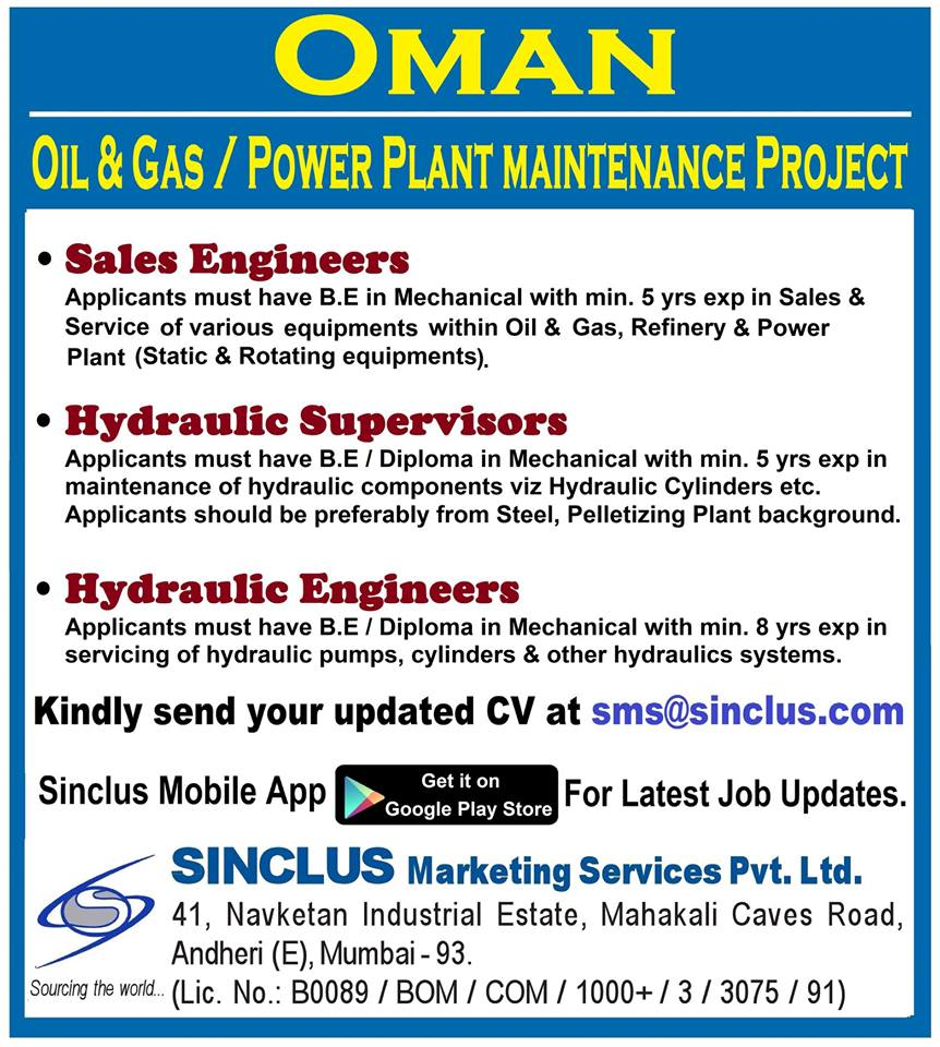 HIRING FOR OIL & GAS / POWER PLANT MAINTENANCE PROJECT IN OMAN