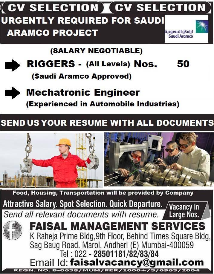 Riggers & Mechatronic Engineer CV SELECTION FOR SAUDI ARAMCO