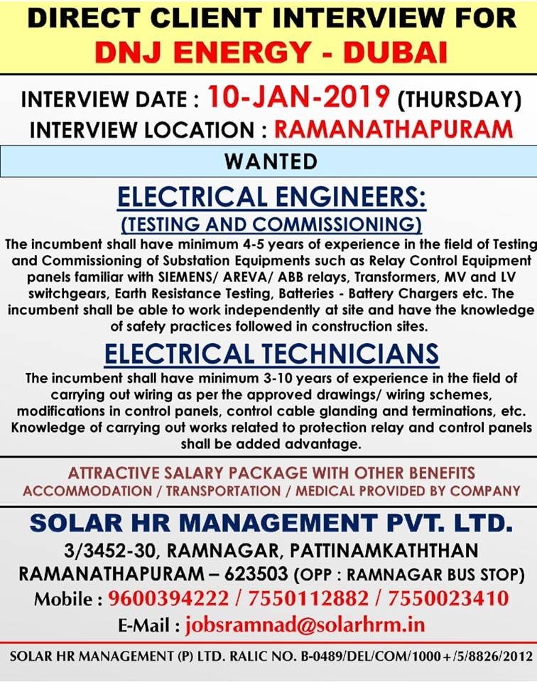 ELECTRICAL ENGINEERS & ELECTRICAL TECHNICIANS FOR DNJ ENERGY