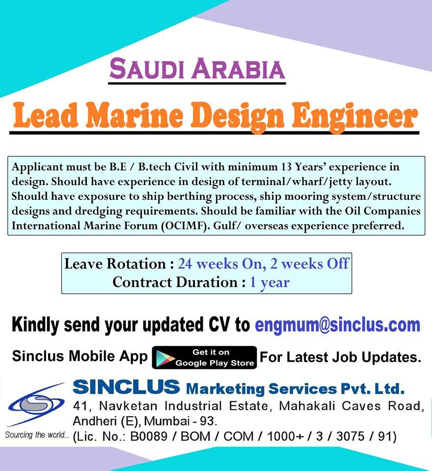 Hiring For Lead Marine Design Engineer for SAUDI ARABIA