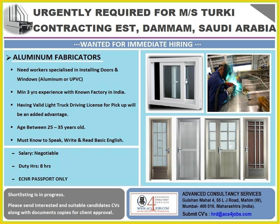 Aluminum Fabricators for M/s Turki Contracting Est – Dammam, KSA
