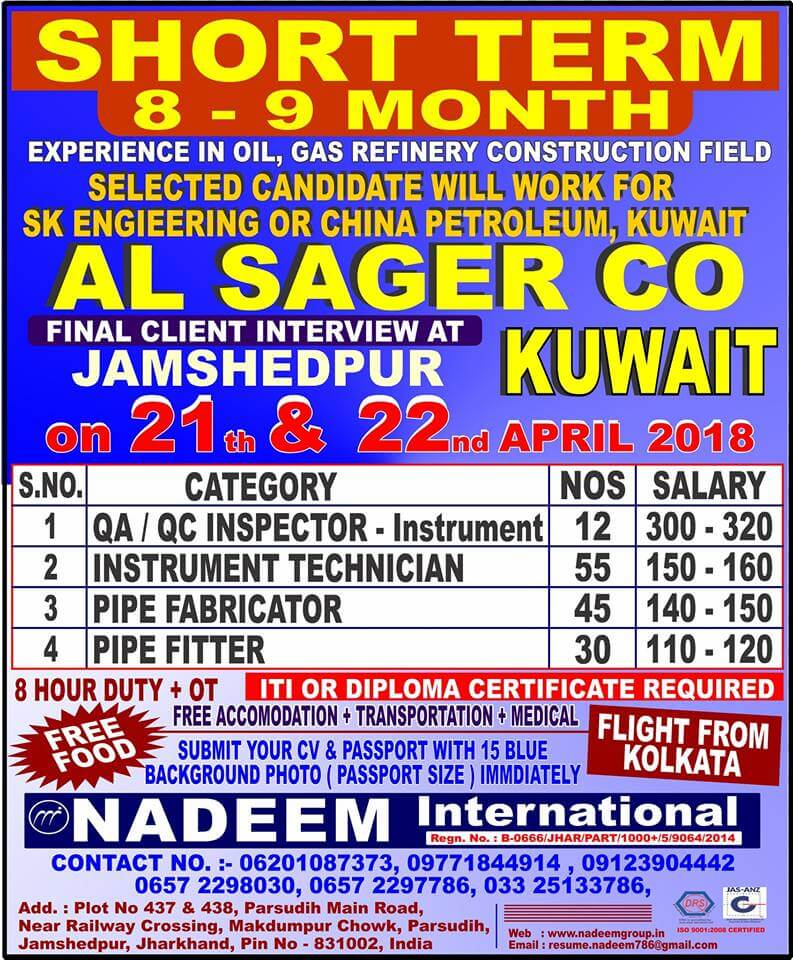 Urgent requirement for Al Sager Co  - Kuwait