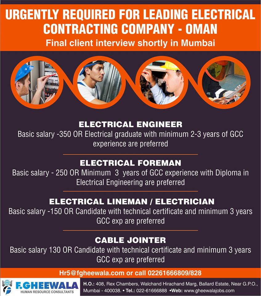 URGENTLY REQUIRED FOR LEADING ELECTRICAL CONTRACTING COMPANY