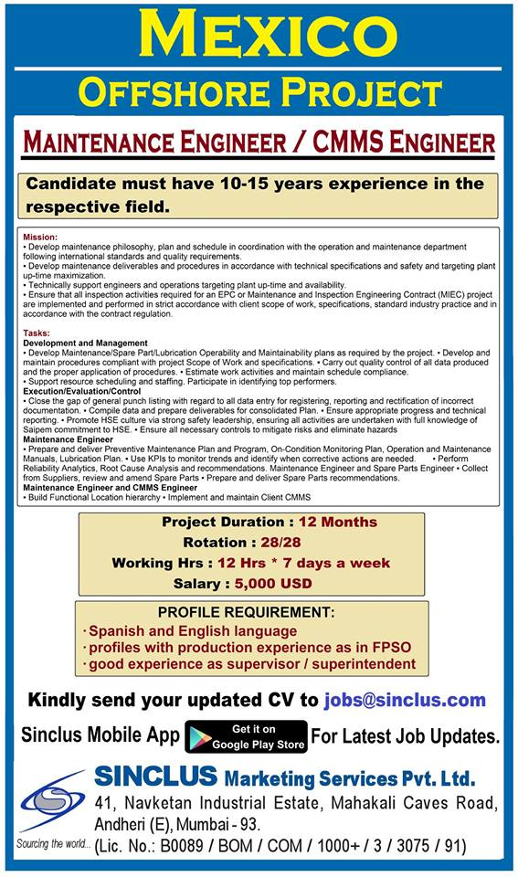 Hiring for Engineers – Openings in Mexico OFFSHORE PROJECT
