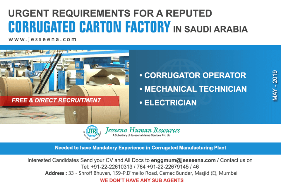 FREE & DIRECT RECRUITMENT For A Reputed Corrugated Carton Factory In