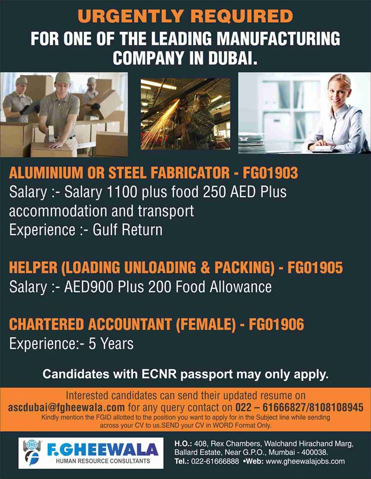 URGENTLY REQUIRED FOR ONE OF THE LEADING MANUFACTURING