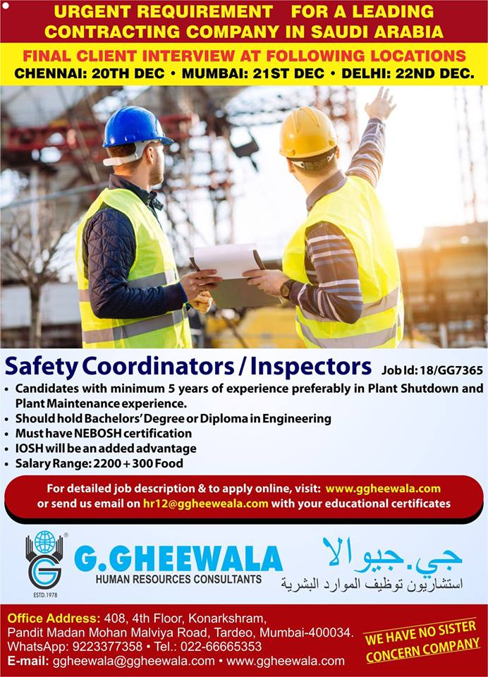 Safety Coordinators / Inspectors – Leading Contracting Company in