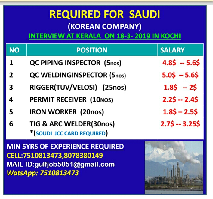 REQUIRED FOR SAUDI - OIL & GAS JOBS IN KOREAN COMPANY