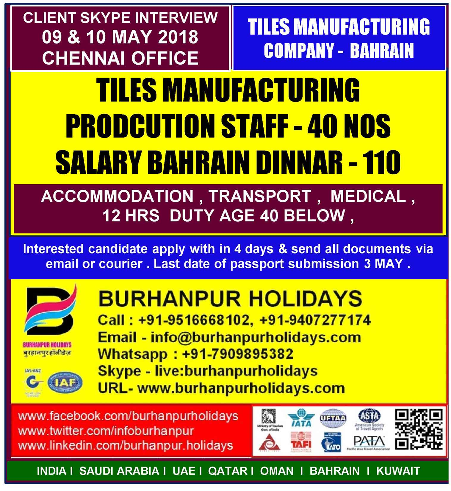 TILES MANUFACTURING COMPANY - BAHRAIN