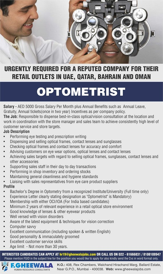 OPTOMETRIST -URGENTLY REQUIRED FOR A REPUTED COMPANY FOR
