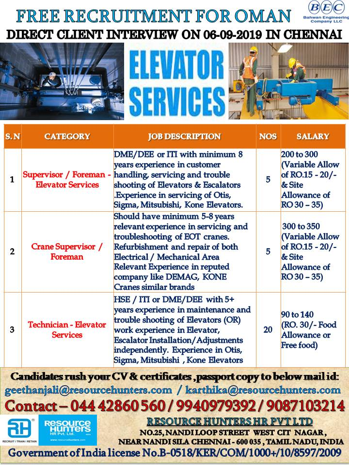 FREE RECRUITMENT FOR OMAN DIRECT CLIENT INTERVIEW ON 06-09