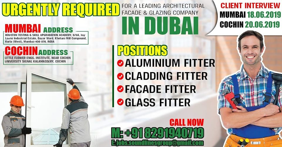 Urgently Required for a leading Architectural facade and