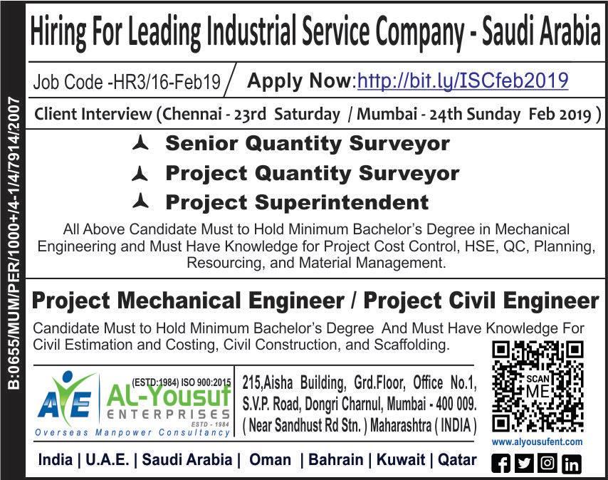 Hiring for KSA – Reputed Industrial Service Company-KSA