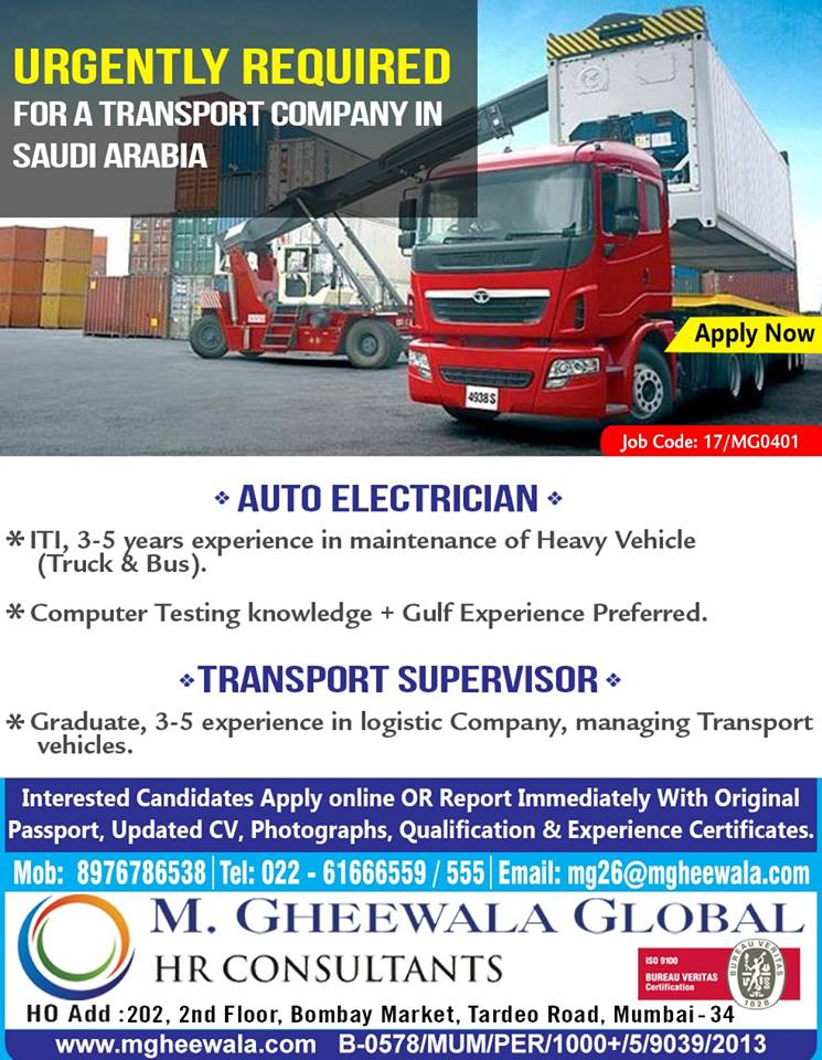 AUTO ELECTRICIAN // TRANSPORT SUPERVISOR URGENTLY REQUIRED FOR A