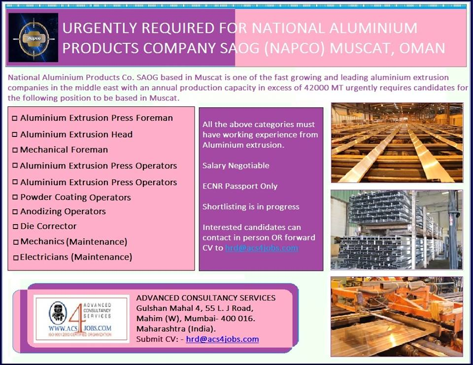 Urgently Required for National Aluminum Products SAOG (NAPCO