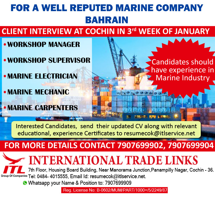 FOR A WELL REPUTED MARINE COMPANY, BAHRAIN